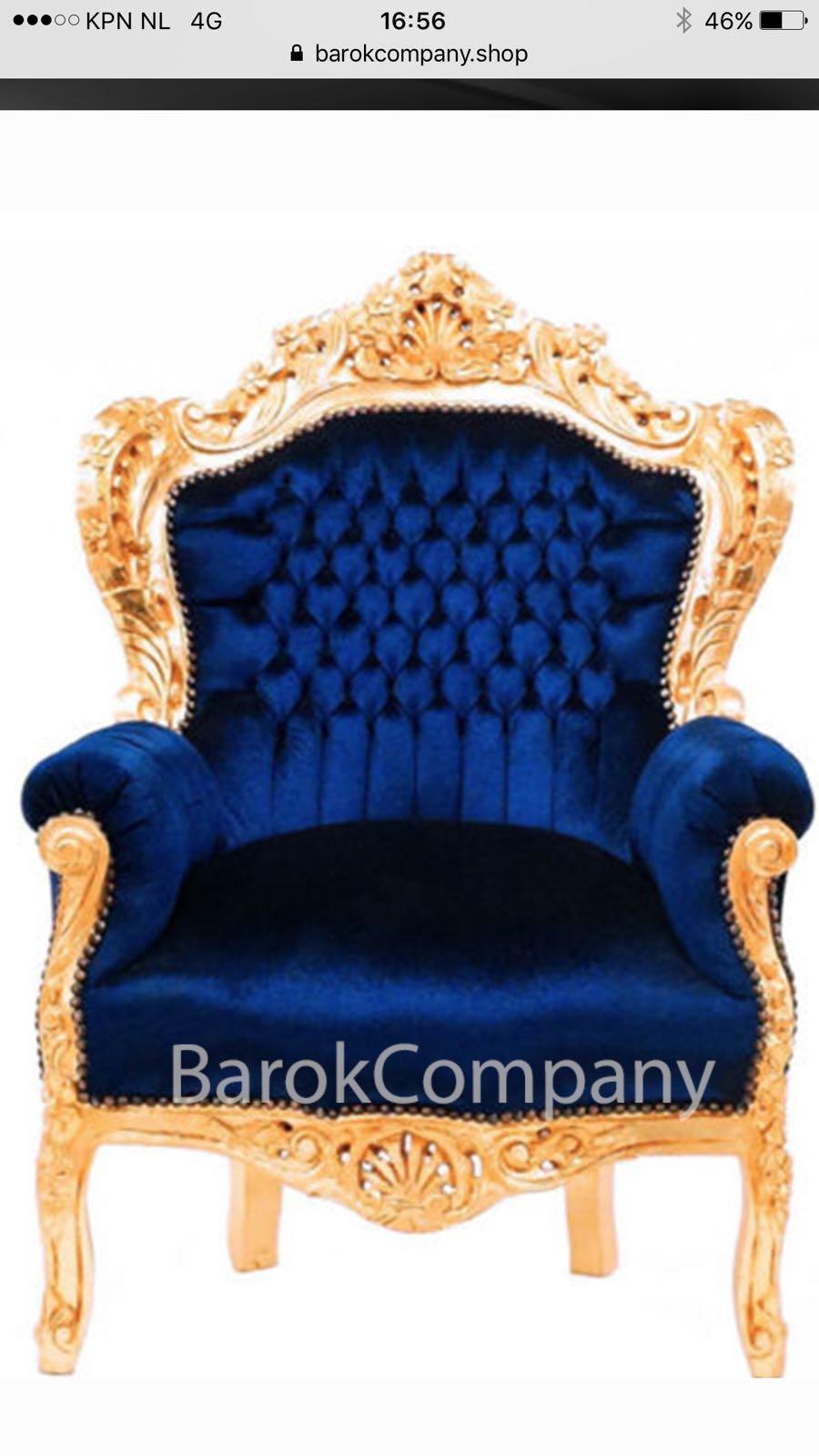 Barok Stoelen Utrecht.Barokstoel Blauw Goud Bij Springkussens033 Springkussen Huren